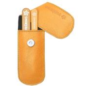 Pfeilring Germany - Manicure, Pedicure, Grooming Set - Glass Nail File & Tweezers, Orange Nappa Leather Case, 2 Piece