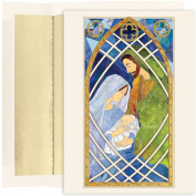 Masterpiece Studios Holy Family Stained Glass, 16 Cards/16 Foil Lined Envelopes