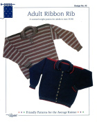 Design by Louise Knitting Pattern #43 Adult Ribbon Rib Pullover and Cardigan