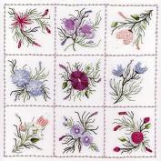 Nine Flower Sampler 1 - Edmar kit #1822, Brazilian embroidery KIT, Cream Fabric