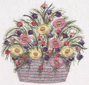 Daisy Basket - EdMar kit #1034, Brazilian embroidery KIT, White Fabric