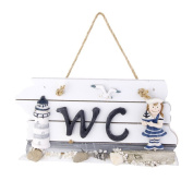 WINOMO Mediterranean Hand Carved Wall Hanging Wooden WC Plaque Sign Board for Girl