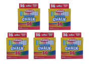 Set of 5 Playskool Brand Washable 36 Piece White and Assorted Coloured Chalk