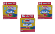 Set of 3 Playskool Brand Washable 36 Piece White and Assorted Coloured Chalk