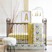 Pam Grace Creations 6 Piece Crib Bedding Set, Gold/Honeydew Kangaroo, Standard Crib