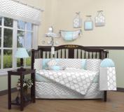Boutique Baby Glacier Blue & Grey Chevron 13 Piece Nursery CRIB BEDDING SET