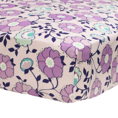 Zoe Purple Floral Print Fitted Crib Sheet by The Peanut Shell