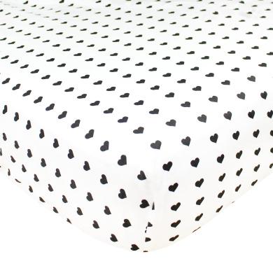 "Premium Woven Cotton Crib Sheet ""Smitten"" by Copper Pearl"