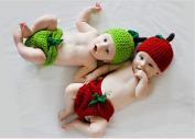 Aistore Baby Newborn Photography Prop Red Hot Pepper Baby Handmade Crochet Knitted Photography Costume Set
