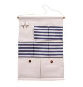 FHD Buttons Cotton/Linen Fabric Wall Door Closet Hanging Organiser Shelves 7-Pocket with 2-hook Storage Bag