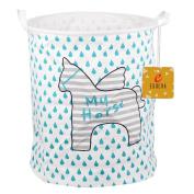 EgoEra Premium Cartoon Foldable Cotton Line Laundry Basket Folding Children Toys Organiser Storage Basket Tidy Clothes Holder without Lids, Raindrop Horse