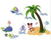 Beach Coco Animals Wall Decals, Living Room Bedroom Removable Wall Stickers Murals