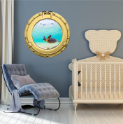 60cm Porthole Ship Window Ocean Sea View GREEN SEA TURTLE #4 BRASS Wall Graphic Kids Decal Baby Room Sticker Home Art Décor MEDIUM