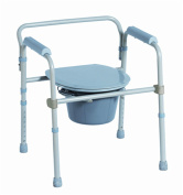 Rehabilitation Advantage Steel Folding Commode Chair, Bucket, Handle, Lid, Cover, Shield and Seat, 5.9kg