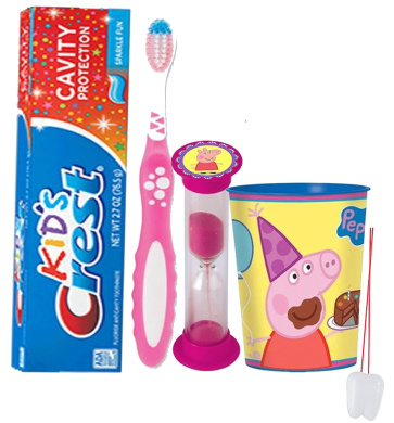 "Nickelodeon Peppa Pig Inspired 4pc Bright Smile Oral Hygiene Set! Toothbrush, Toothpaste, Brushing Timer & Mouthwash Rinse Cup! Plus Bonus ""Remember to Brush"" Visual Aid!"