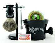 Colonel Conk 294 6 Piece Shave Set - Long Handled #180, Black Metal Stand, Mixed Badger Brush, Black Apothecary Mug, DE Blades & Soap