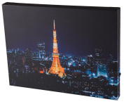 Paris Skyline and Eiffel Tower Wall-Hanging Wood Framed Print Artwork with LED Lighting - 40cm x 30cm