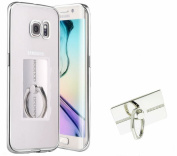 Auroralove Samsung Galaxy S7 Edge Slim Transparent Silver Crystal Clear TPU Case Rubber Bumper Silicone Cover for Galaxy S7 Edge with 360 Degree Rotating Stand