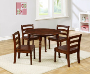 eHemco Deluxe Kids Table and 4 Chairs Set Solid Hard Wood in Coffee Colour