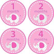 Home-organiser Tech Baby Month Stickers Cartoon Elephant Boy Girl 1-12 Monthly Milestone Sticker Best Birthday Shower Gift Party Photo Age Sticker