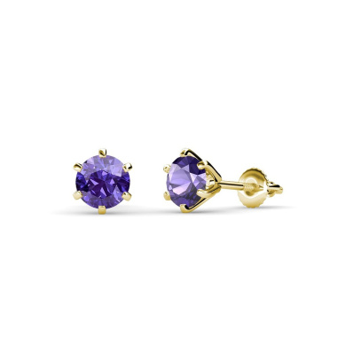 Iolite Six Prong Martini Solitaire Stud Earrings 0.95 ct tw in 14K Yellow Gold