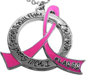 """I Will Stand Strong. I Will Fight. I Will Win."" Cancer Warrior Necklace with Stainless Steel Chain"