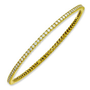 Sterling Silver Yellow Plated With CZ Bangle Bracelet