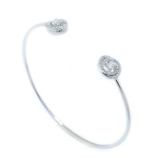 925 Sterling Silver Clear CZ Open Bangle 0.82 CT.TW