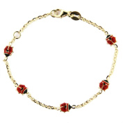 18K yellow gold red enamel lady bug bracelet 18cm in line with extra ring in 15cm