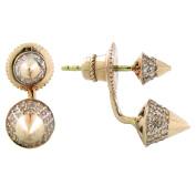 14K Gold Diamond Spike. Ear Jacket with Stud Earring (.70cttw) Pink Gold
