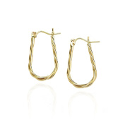 14k Yellow Gold High Polished Curled Oval Hoop Earring in Gift Box for Women and Teen Girls