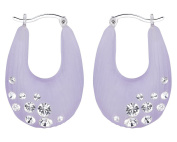 G & H Hand Crafted Purple Lucite Silver Click-Top Drop Hoop Earrings with. Crystals