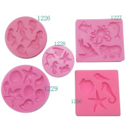 Funshowcase Mini Sea Creatures Summer Beach Theme Candy Silicone Mould for Sugarcraft, Cake Decoration, Cupcake Topper, Fondant, Jewellery, Polymer Clay, Crafting Projects, 13cm Set