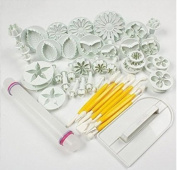DECORA 46pcs Flower Fondant Cake Sugarcraft Decorating Kit Cookie Mould Icing Plunger Cutter Tool, White
