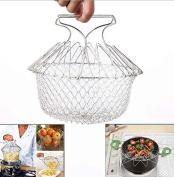 Drhob 1pc Durable Fry Strainer Sieve Steam Colander Storage Kitchen Cooking Chef Basket (Colour