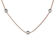 Sterling Silver Rose Gold Plated 1.1 mm Two-Tone Snake W/ Bead Necklace