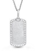 Sterling Silver, White Topaz Dog Tag Locket Necklace, 46cm chain, The Meagan by With You Lockets