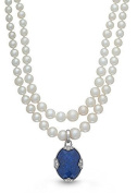 Blue Lapis Quartz/White Topaz Sterling Silver Locket Necklace Gloria Pearl by With You Lockets