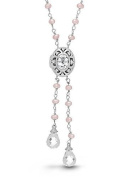 Sterling Silver White Quartz/Topaz Lariat Locket Necklace Pink Freshwater Pearls Cora by With You Lockets