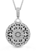 Sterling Silver, Diamond Round Locket Filigree Necklace, 46cm chain, The Beatrice by With You Lockets