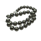 Women's round AAA 17 inch 9-10mm black freshwater cultured pearl necklace 14k white gold clasp