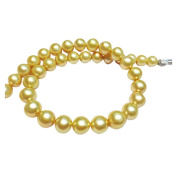 Women's round AAA 17 inch 11-12mm golden freshwater cultured pearl necklace 14k white gold clasp