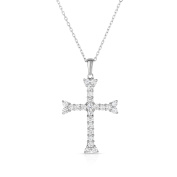 Noray Designs 14K White Gold Diamond (1 Ct, G-H Colour, SI2-I1 Clarity) Cross Pendant With 46cm Gold Chain