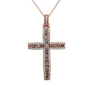 Noray Designs 14K Rose Gold Champagne & White Diamond (1.40 Ct, G-H Colour, SI1-SI2 Clarity) Cross Pendant With 46cm Gold Chain