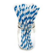 Straws - TOOGOO(R)1 Pack(25 pcs)Biodegradable Reusable Environmental Paper Striped Party Straws -Blue White