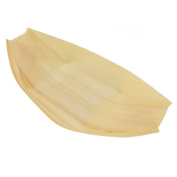 BambooMN Brand - Disposable Wood Boat Plates / Dishes, 17cm Long x 8.9cm Wide x 2.5cm High, 300 Pieces