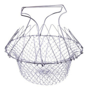 FHD Stainless Steel Foldable Steam Rinse Strain Fry Chef Basket Strainer Net Kitchen Cooking Tool