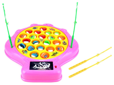 Deep Sea Shell Fishing Game for Children Battery Operated Rotating Novelty Toy Fishing Game Play Set w/ 21 Fishes, 4 Fishing Rods, Lights, Music (Pink)