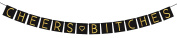 """""""Cheers Bitches"""" Bachelorette Party Decorations - Black & Gold Bachelorette Party Banner"""
