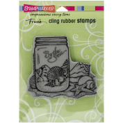 Stampendous cling rubber stamp seashell jar